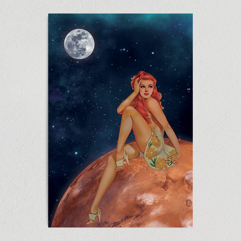 Pin Up Girl Sunbathing On Mars Art Print Poster 12″ x 18″ Wall Art PU1010