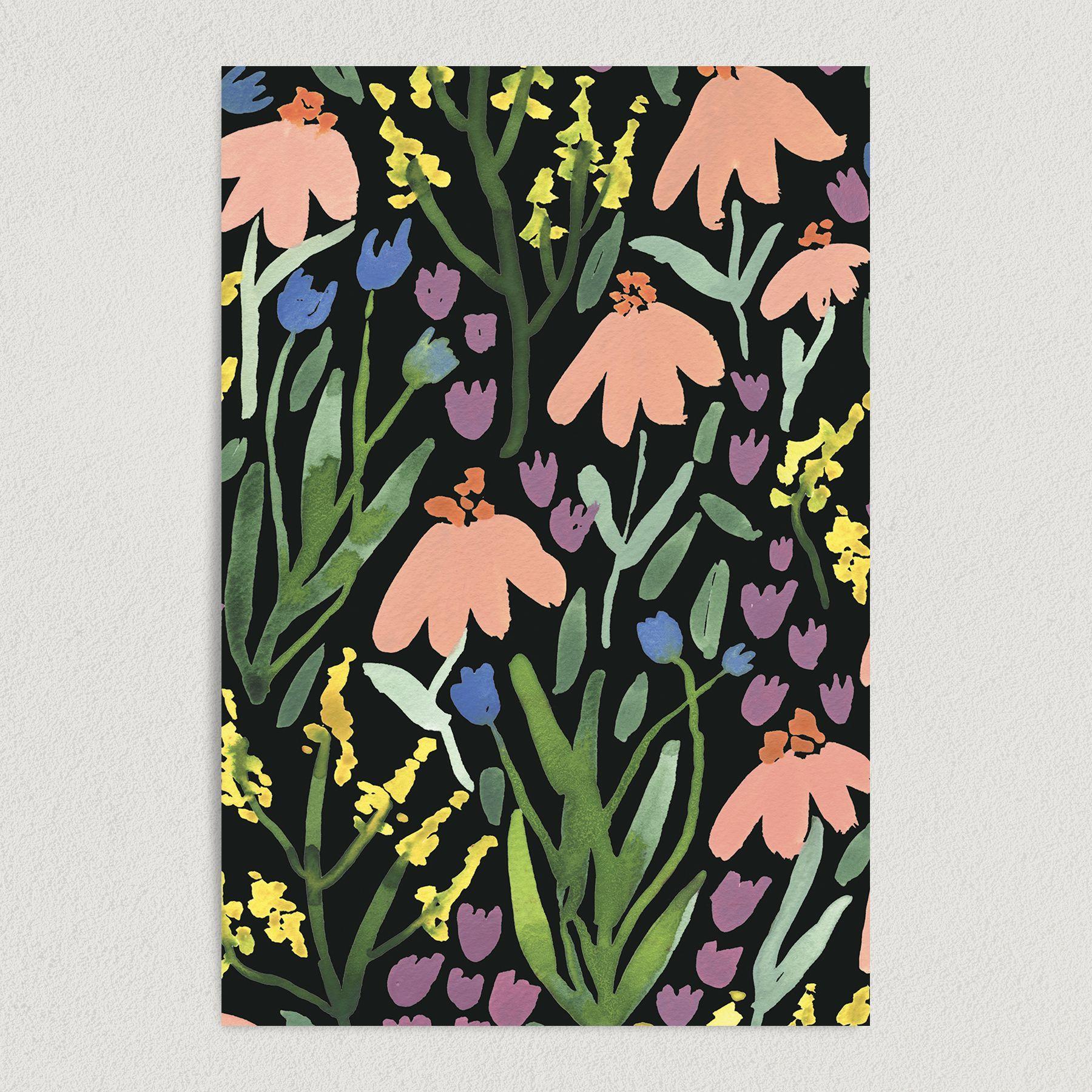 Pink Flower Painting Art Print Poster 12″ x 18″ Wall Art PP1000