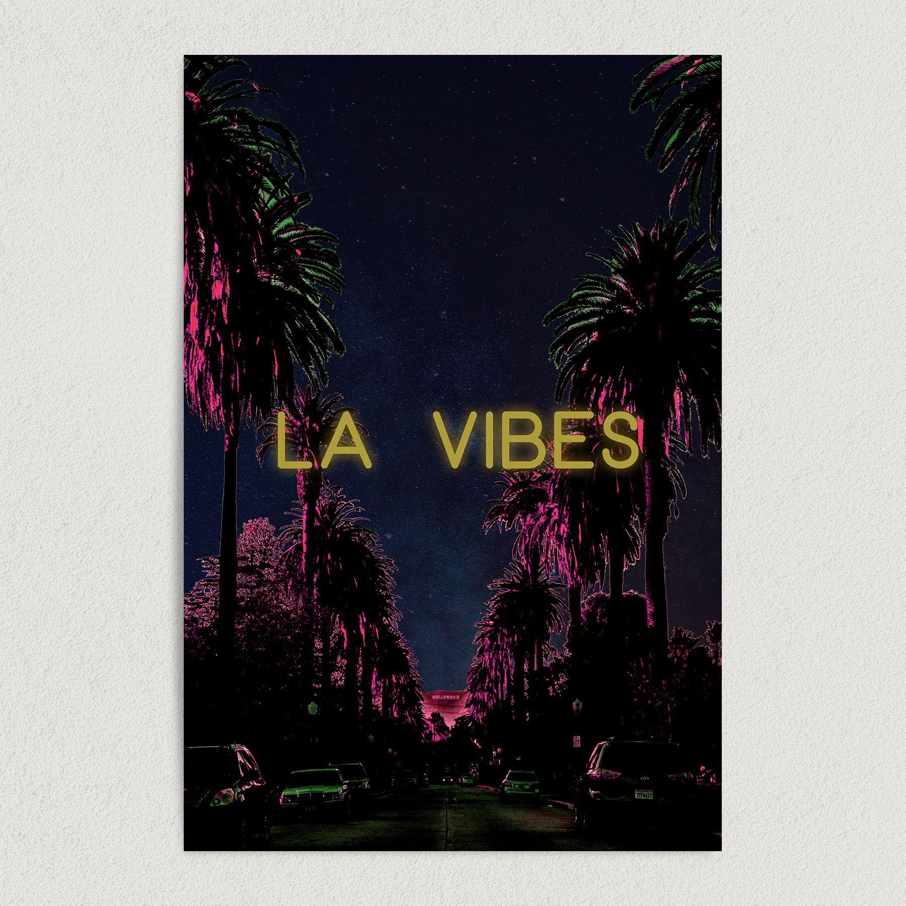 LA Vibes Retro Hollywood Boulevard Art Print Poster L1001