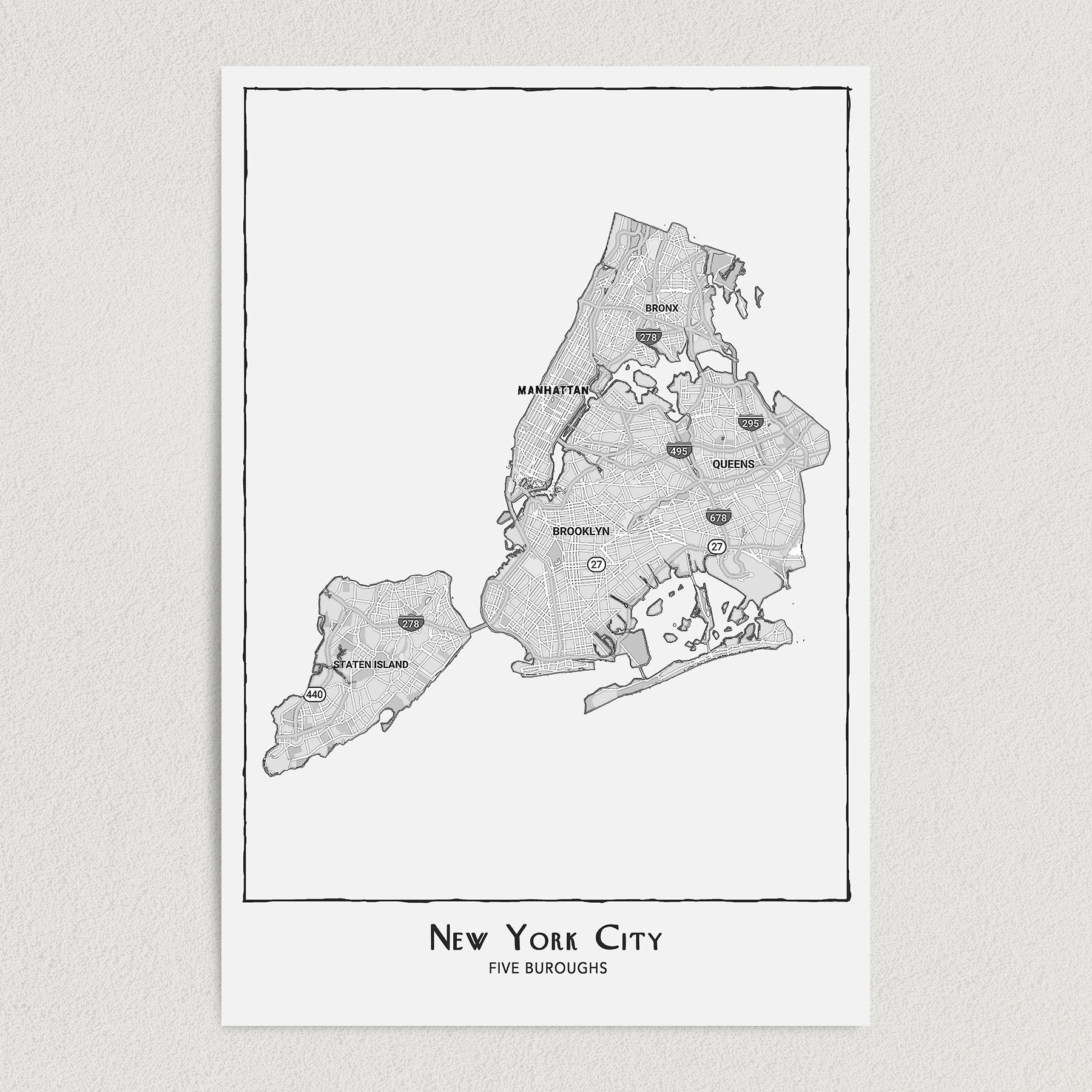 New York City Five Boroughs Art Print Poster 12″ x 18″ Wall Art T1000