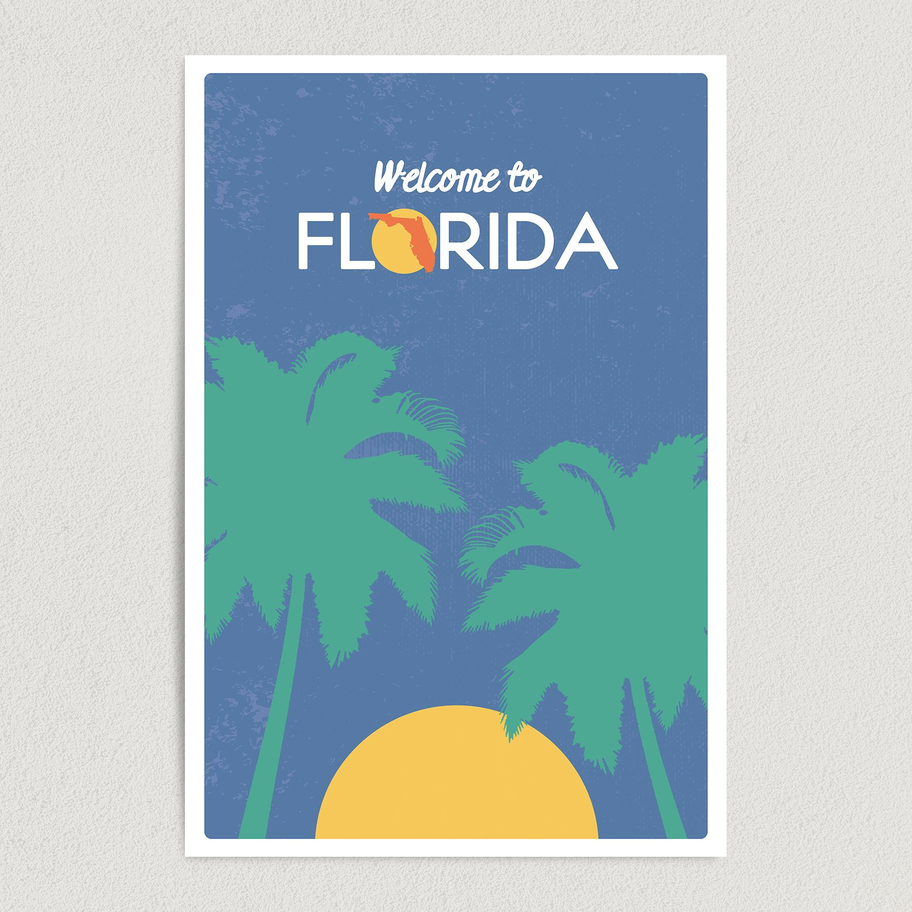 Welcome To Florida Road Sign-Style Vertical Art Print Poster ST1000