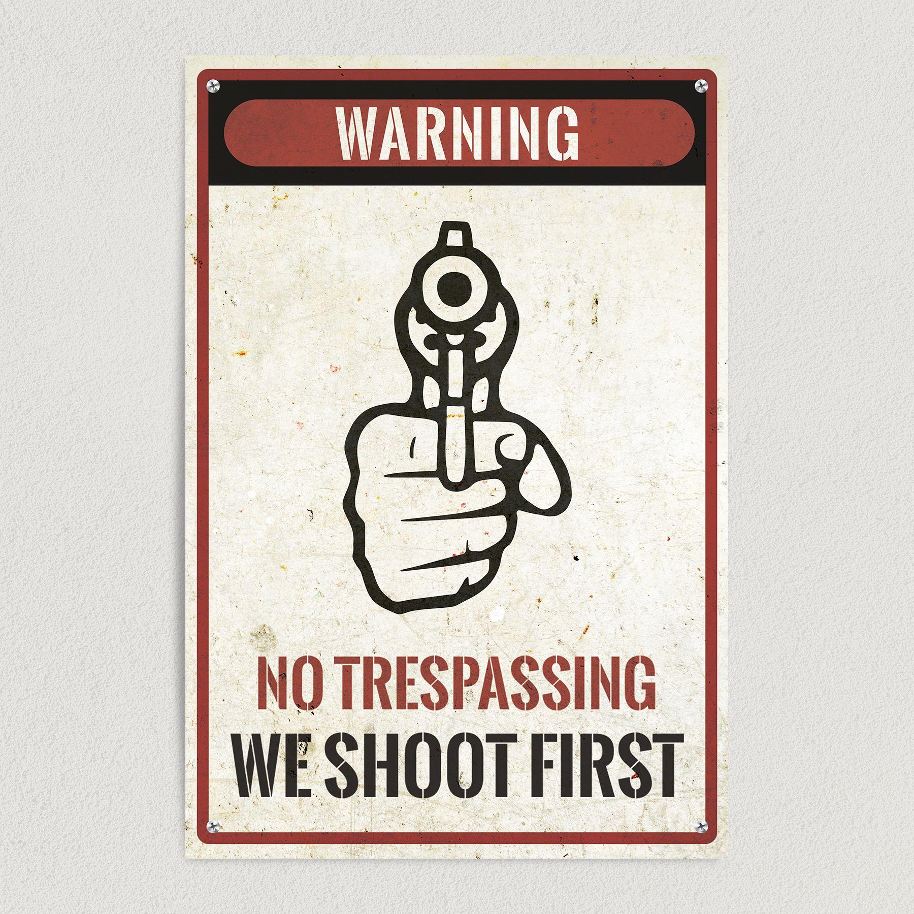 No Trespassing Warning We Shoot First Art Print Poster 12″ x 18″ Wall Art WS1000