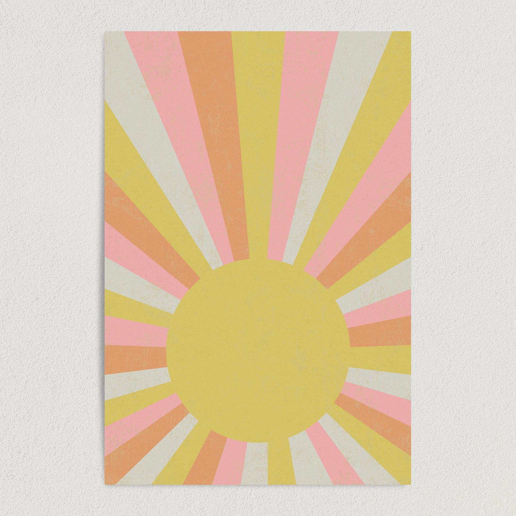 Rays of Sun Vintage Sun Burst Art Print Poster V1000