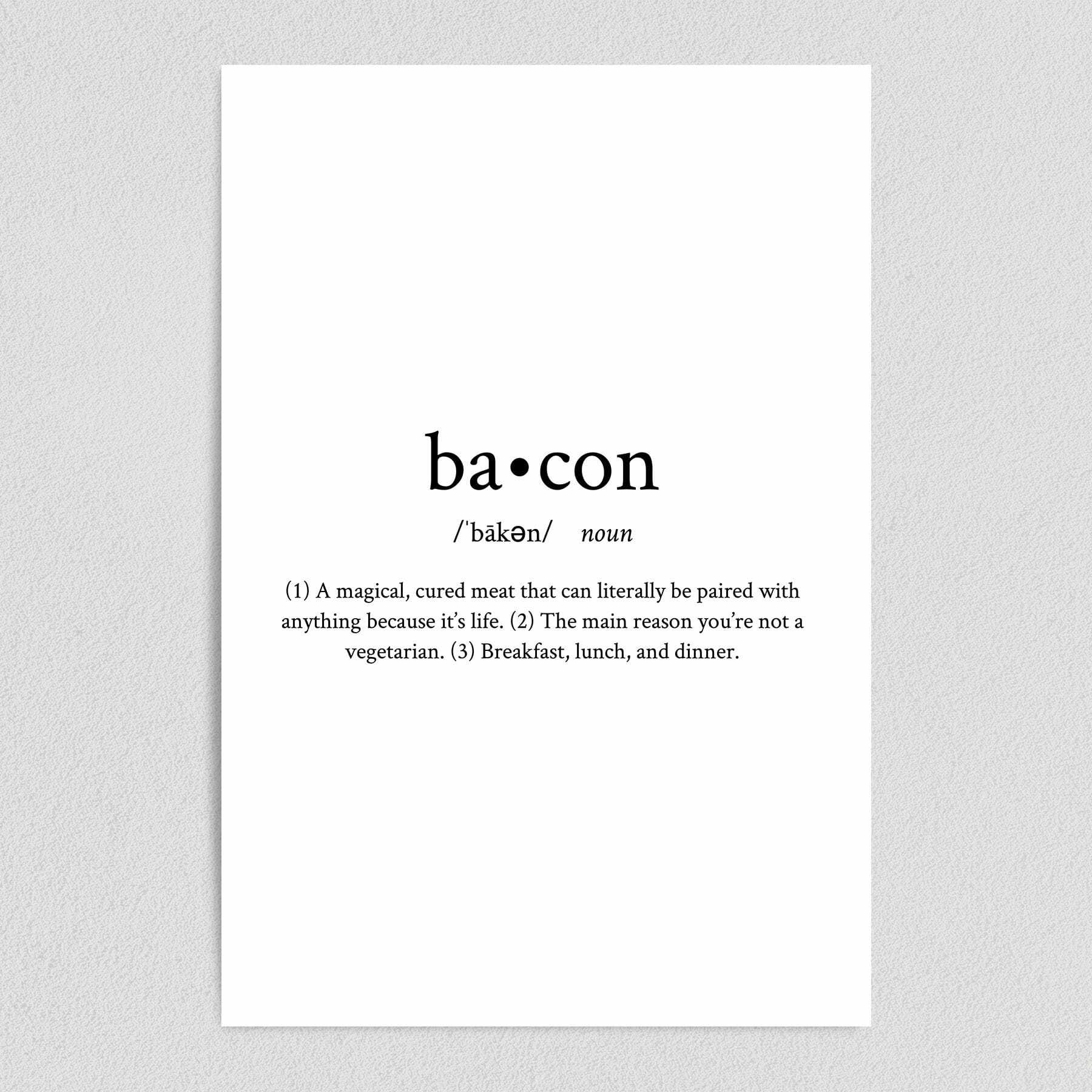 Definition of Bacon Adult Humor Art Print Poster Art Print Poster 12″ x 18″ Wall Art Q1040