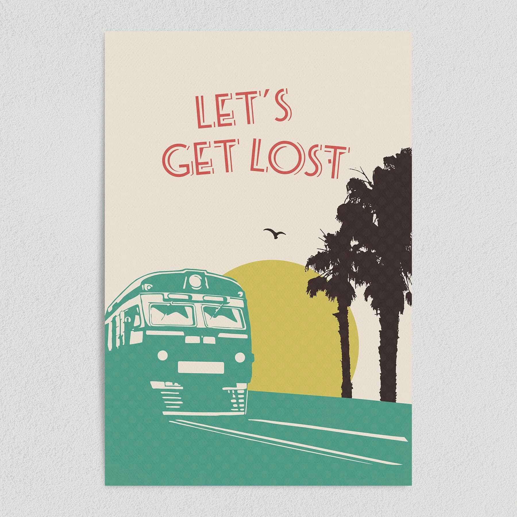 Let's Get Lost Vintage Travel Art Print Poster 12″ x 18″ Wall Art Q1050