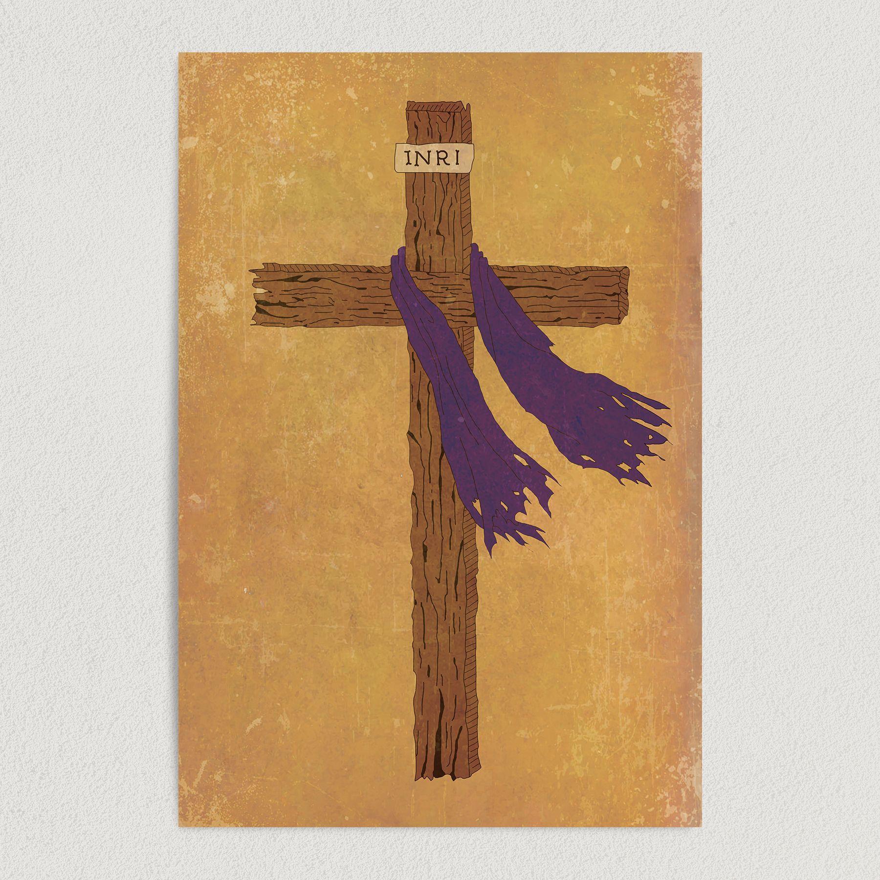 Tattered Christian Cross Art Print Poster 12″ x 18″ Wall Art RS2754