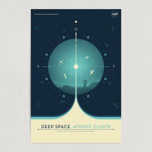 deep space atomic clock nasa art print poster featured image