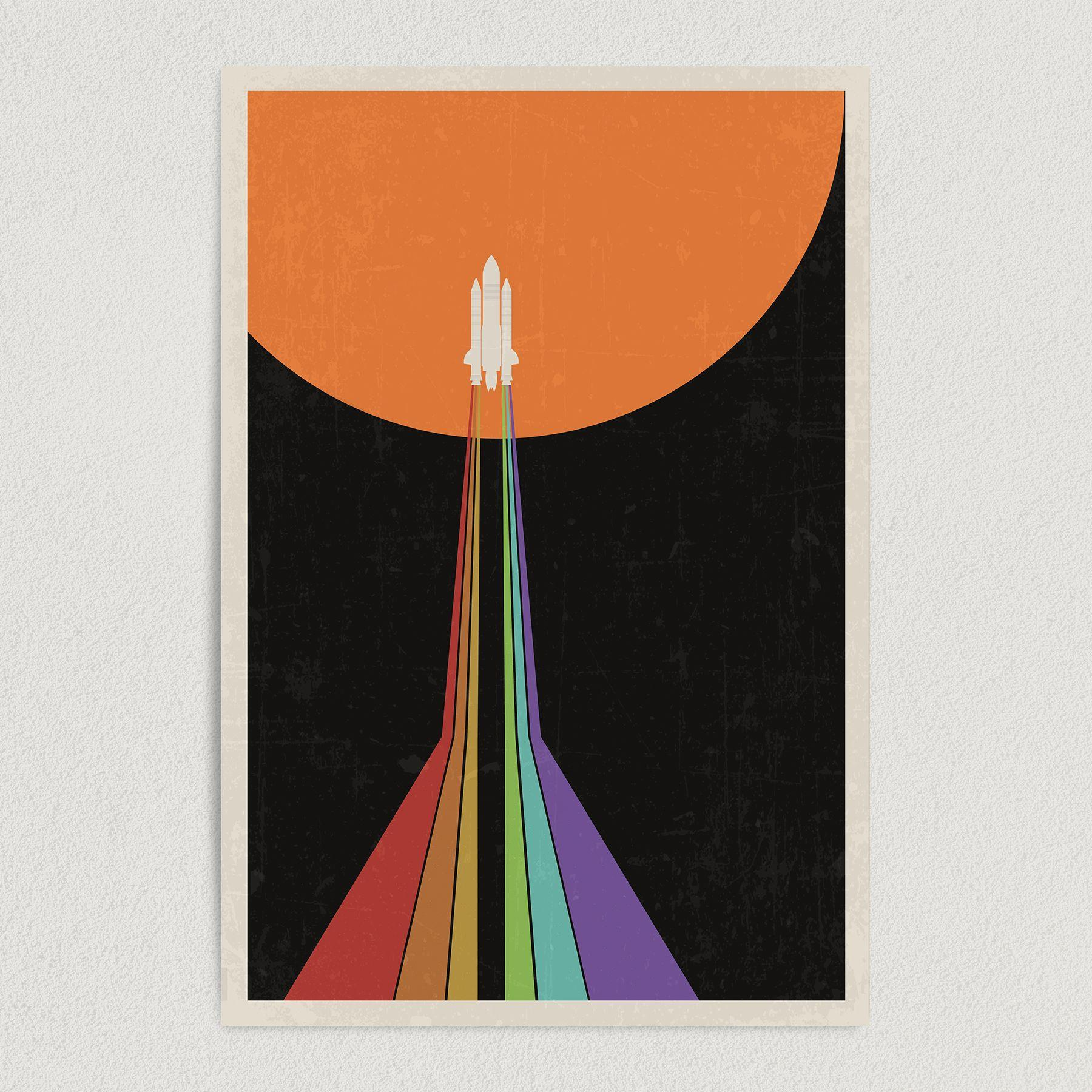 Space Shuttle Rainbow Galaxy Art Print Poster 12″ x 18″ Wall Art SA1212