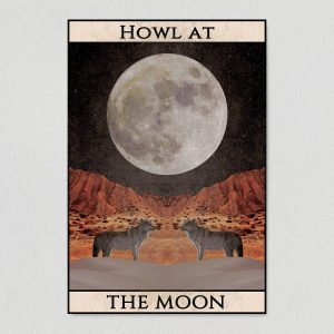 howl at the moon art print poster template
