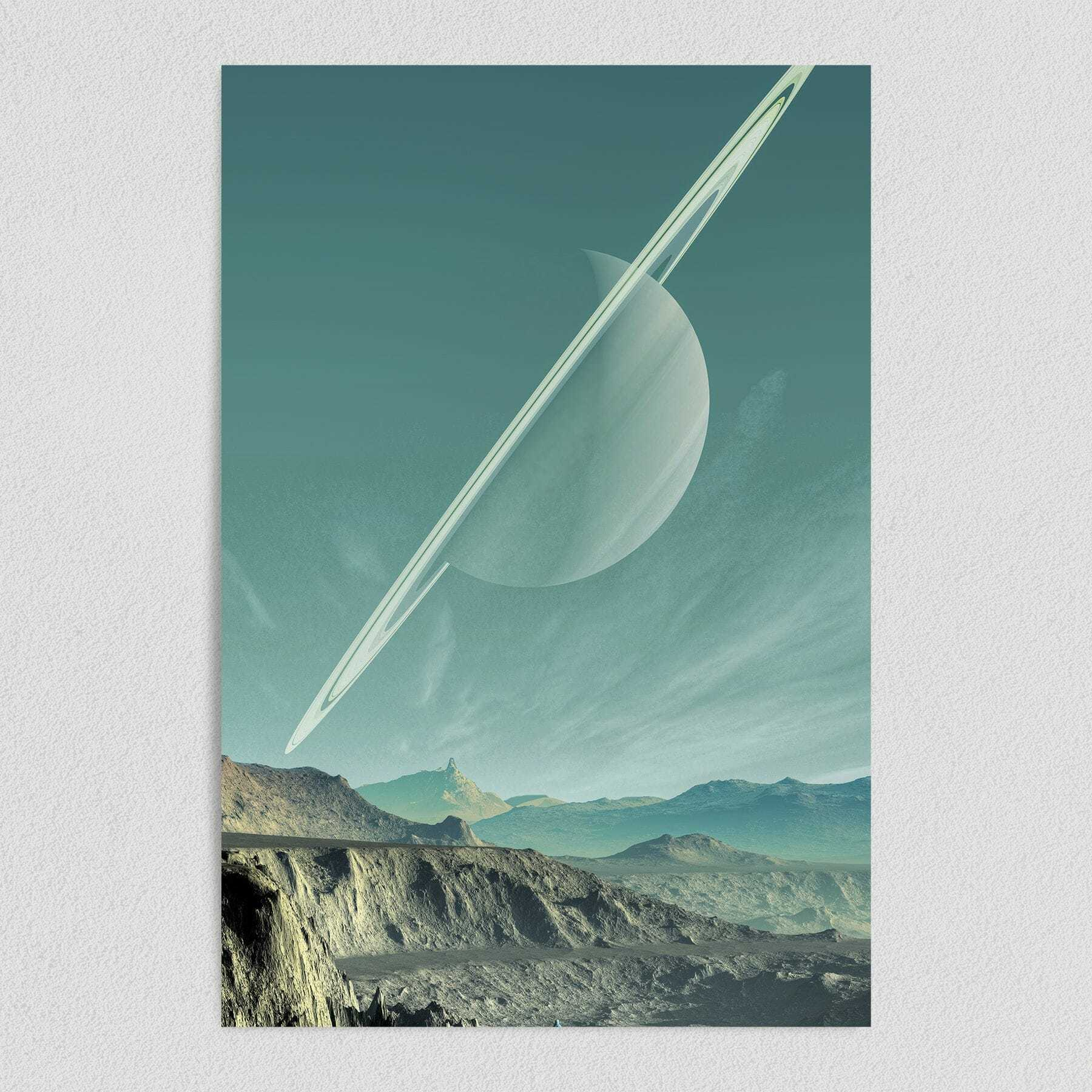 Saturns Sister Surreal Space Art Print Poster 12″ x 18″ Wall Art SP1040