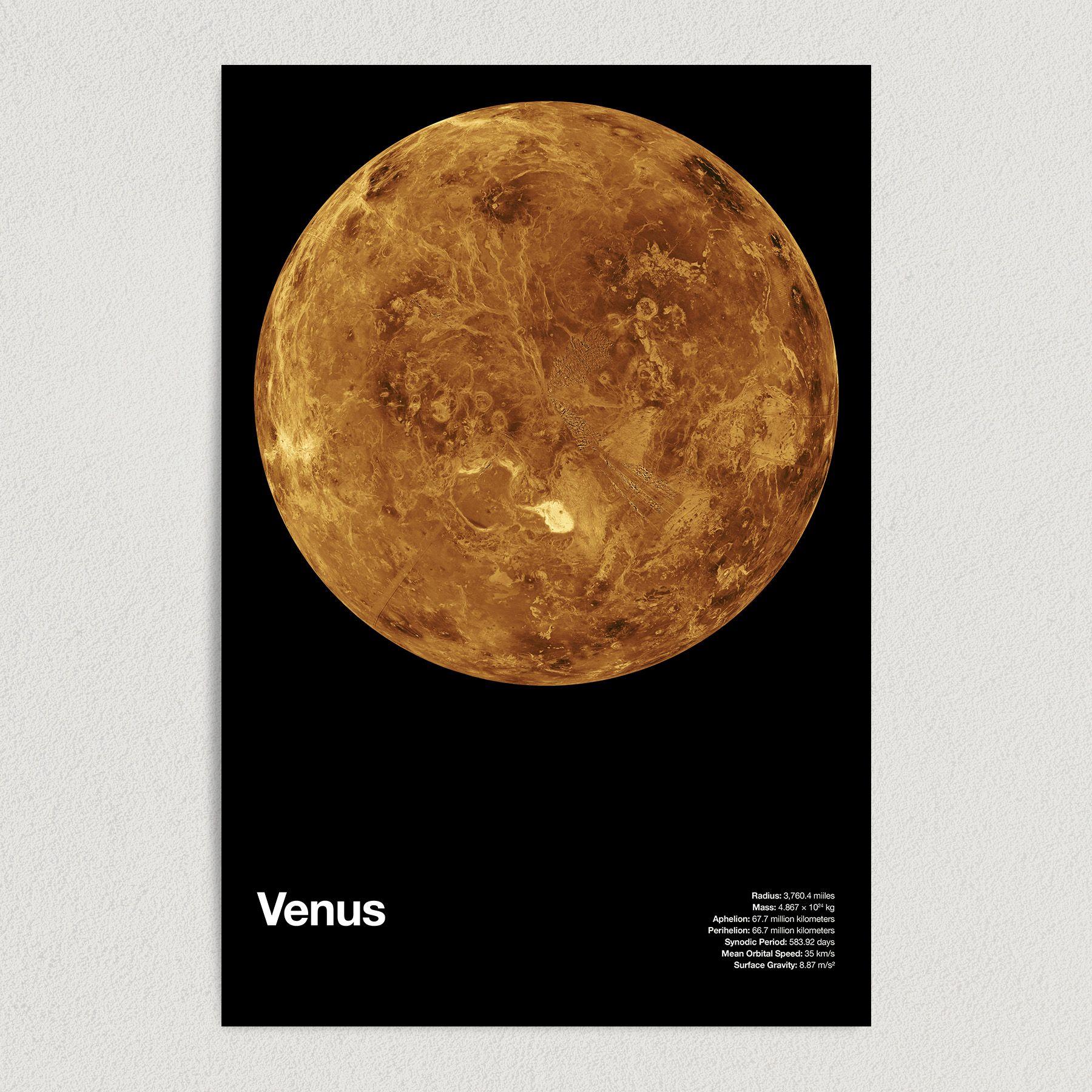 Planet Venus Astronomy Education Art Print Poster 12″ x 18″ Wall Art SS2159