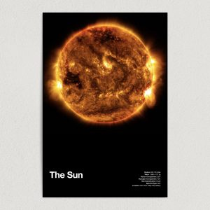 the sun astronomy education art print poster 12x18 wall art template