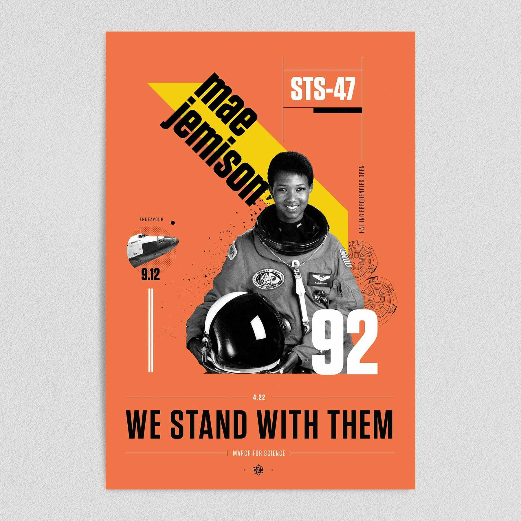 Mae Jemison We Stand With Them March For Science Art Print Poster 12″ x 18″ Wall Art ST1050