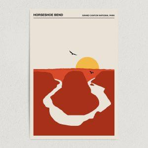horseshoe bend grand canyon national park minimalist travel art print poster 12x18 wall art template