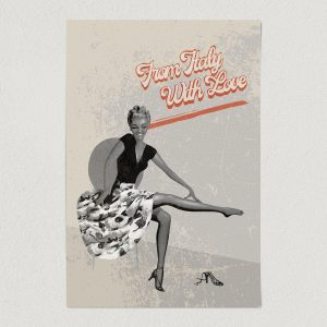 pin up girl black and white retro art print poster 12x18 wall art template