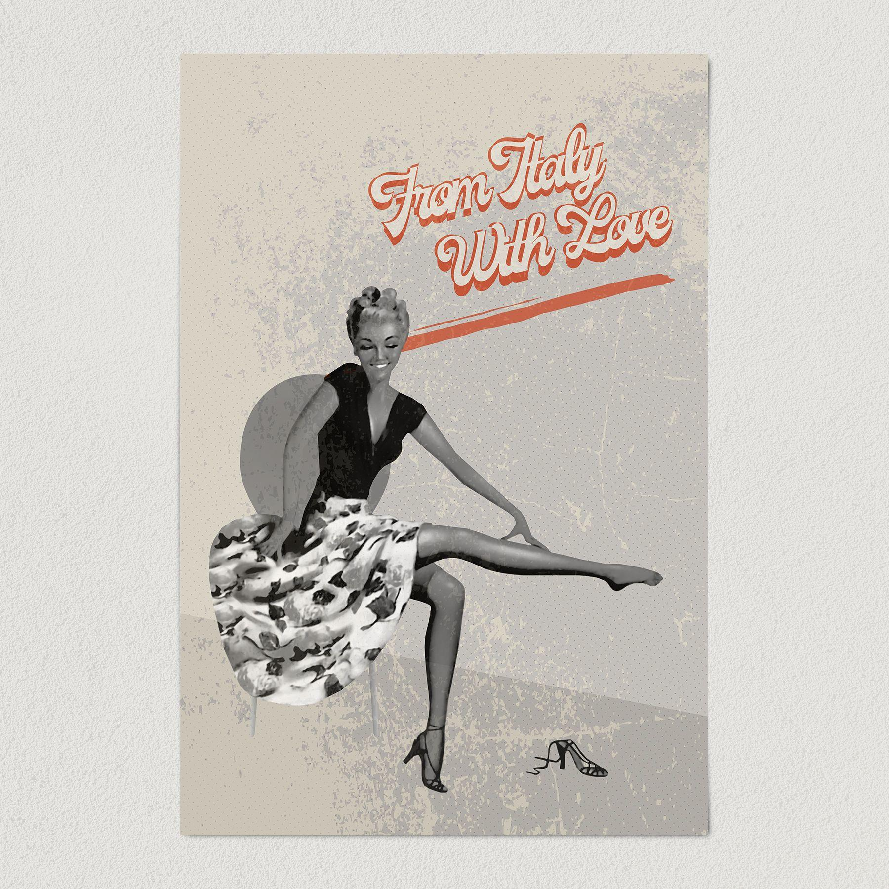 From Italy With Love Pin-Up Art Print Poster 12″ x 18″ Wall Art VR1201
