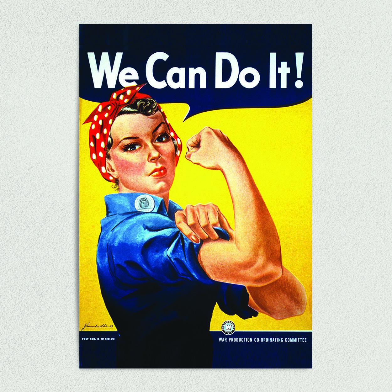 Rosie the Riveter Women Empowerment Art Print Poster 12″ x 18″ Wall Art V1026