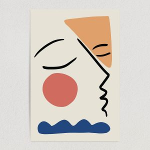AL1818 abstract face picasso style design art print poster 12x18 wall art