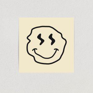 SA1818 smiley face warped art print poster 12x12 wall art