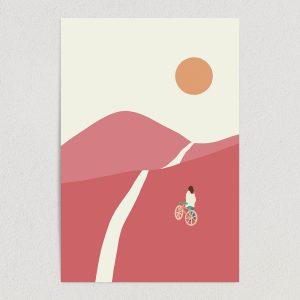 SN1661 biking pink valleys art print poster 12 x 18 wall art